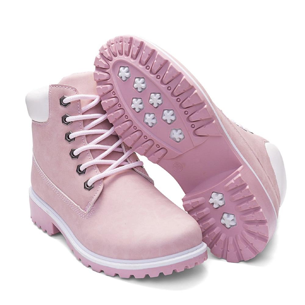 Szyadeou Women Ladies Round Toe Lace-up Faux Boots Ankle Casual Martin Shoes botas mujer invierno kozaki damskie schoenen 30 13