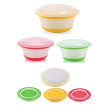 3Pcs Circular Collapsible Covered Silicone Camping Bowl Lunch Boxes Food Container Storage Bowls Dish With Lids(China)