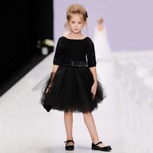Sun Moon Kids Lace Sleeve Girls Dress 2017 Summer&Spring Party Black Dress For Girl Lolita Kids Wedding Dresses
