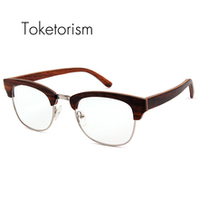 Toketorism Vintage handmade wooden glasses frame man womens half frame wood eyeglasses 0106(China)