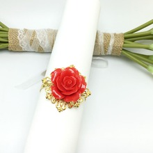 50Pieces Red Rose Flower Decor Gold Napkin Ring Holder Hoops Romantic Nice Looking Weeding Party Table Decoration