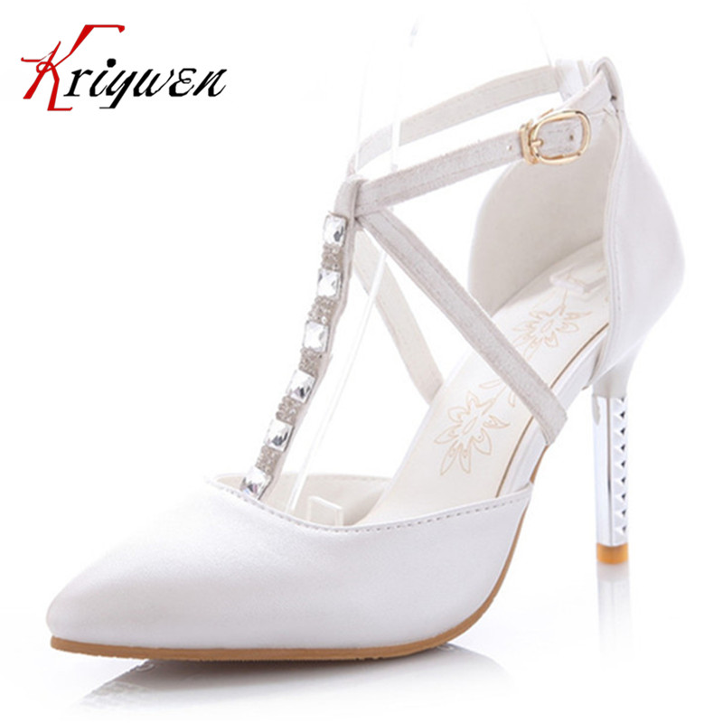 Large Size 33-43 Sexy lady thin High Heels Womens Dress Fashion Wedding shoes lady Pumps pink blue white T-strap diamond pumps<br>