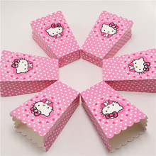 New 12pcs/lot Hello Kitty Party Supplies Popcorn Box Gift Box Favor Accessory Birthday Party Supplies Kids Event&Party Supplies