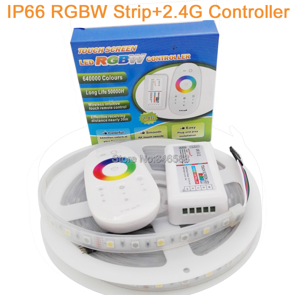 5M 12V 5050 RGBW RGBWW LED Strip 60 LED/M IP66 Silicone Waterproof Flexible LED Tape White PCB + 2.4G RF Remote RGBW Controller<br><br>Aliexpress