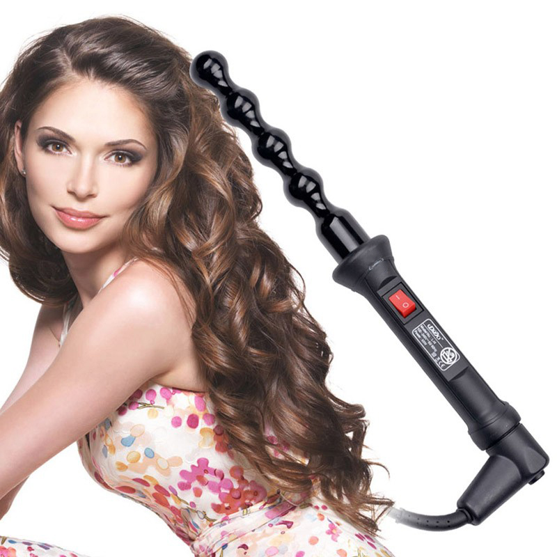 Spiral Hair Curls Electric Ceramic Hair Curler Wand Fashion Curling Iron Wand Salon Hair Styling Tools corrugation hair iron<br>