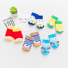 2017 Newest Animal Baby Socks Non-slip Rubber Soles Cotton Cute KT Sock Cartoon Sock for Baby Girls Boys Newborn Clothing
