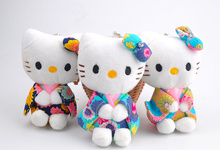 1X Kawaii HOT 11CM NEW Hello Kitty Pendant Plush TOY DOLL ; Wedding Bouquet Gift Decoration Stuffed Cat TOY