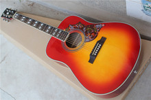 Factory custom cherry sunburst 41'' Hummingbird acoustic guitar with white body binding,chrome tuners,can be customized