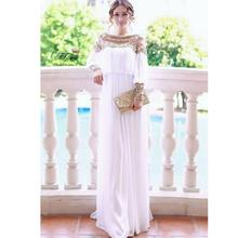Two color heavy beaded formal caftan chiffon long sleeves dress kaftan women beading dress solid  color clothing W106