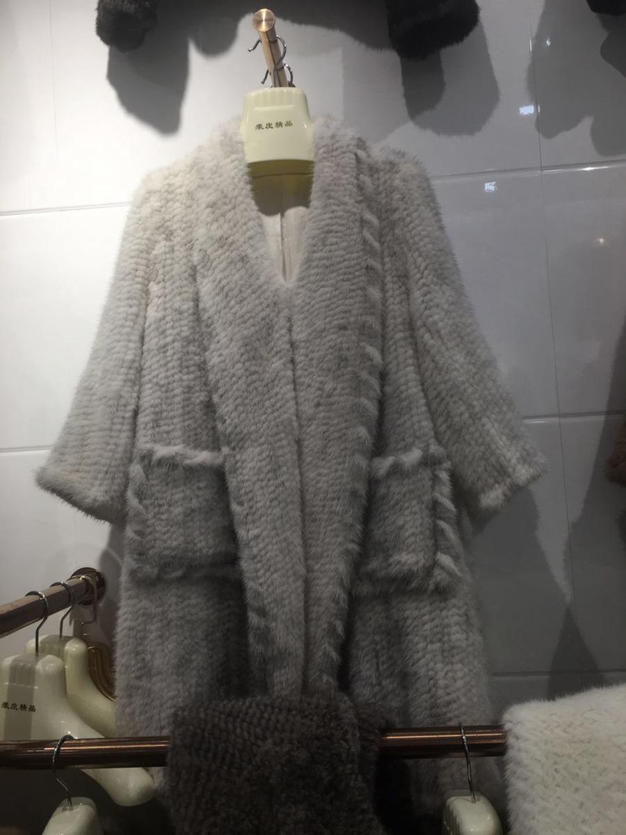 women luxury genuine real knitted mink fur shawls (5)