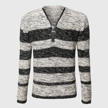 Men Unique Zipper Sweater V Neck Cable Knit Sweater Long Sleeve Striped Pullover Warm Grey Black Color Block Design