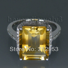Vintage Emerald Cut 10x12mm Yellow Natural Citrine Diamond Engagement Ring, 14k White Gold Genuine Gemstone Ring For Sale R0014