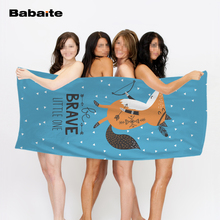Babaite Cartoon Fox Be Brave Little One Floral Super Soft Quick Drying Beach Towel Kids Blanket Swimming Wrap Sheet(China)
