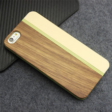 Luxury Gold Metal Mobile Phone Housings For iPhone 6 Real Wood Back Cover For iPhone 6s Case Shockproof Protective Shell(China)