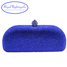 Hot hard clutch royal blue crystal evening bags and clutch bags silver/red/navy/pink/gold/gray/black/champange/emerald green(Hong Kong)