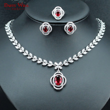 Silver Color Bridal Jewelry Set For Women Red Crystal White Zircon Necklace Earrings Rings Set USA Size 6/7/8/9 For Wedding(China)