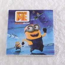 20pcs/lot Minions Despicable Me Movie Napkin Paper 100% Virgin Wood Tissue for Kids Minion Party supplies