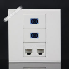 Wall Plate 4 Ports Socket 2 Ports CAT5E Network LAN & 2 Ports SC Optical Fiber Outlet Panel Faceplate Home Plug Adapter Standard