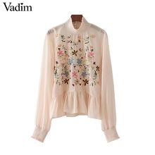 Vadim women sweet ruffles floral embroidery chiffon shirts bow tie long sleeve loose blouses casual brand tops blusas LT2174(China)