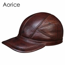 HL030 MEN'S genuine leather baseball cap hat brand new cow skin warm caps hats