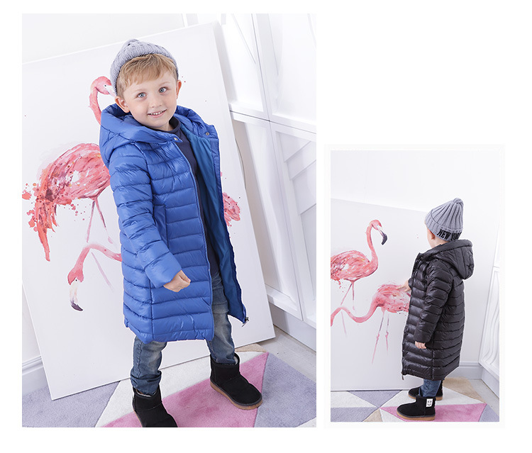 Belbello Baby Kids Unisex Clothing Winter Children Warm Slim Long Soft Down Jackets Fashion All-Match White Duck Down Filling