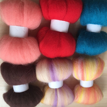 wool needle felting poke fun DIY roving felt 100% merino wool fiber mix color 10g/6pcs/lot(China)