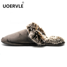 Big size 38-46 2017 Winter Men Warm Skid House Slippers Indoor Slippers men's Home Plush Fur Lovers Cotton Floor Slippers UO9862(China)