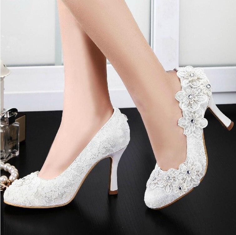 Handmade Sweetness Lace Flower Wedding Dress Shoes Ladys Banquet women Dress Shoes High Heel Bridal Shoes Popular Formal Shoes<br><br>Aliexpress