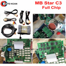 A+++Quality MB Star C3 Full Chip Support 12V & 24V cars and trucks mb star diagnosis c3 Wihout HDD with 5 Cables