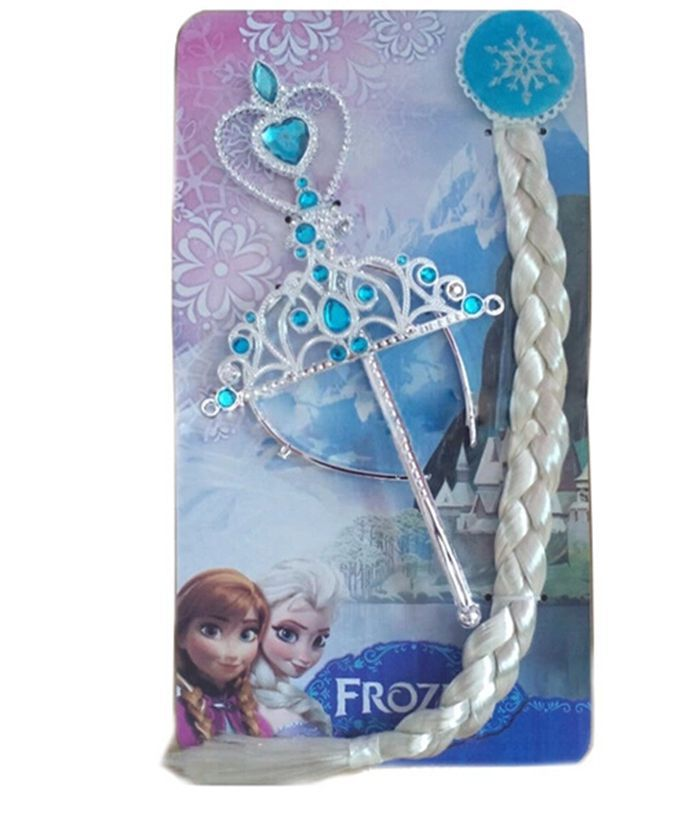 Crown hair ornaments Aisha princess children headdress hair snowflake female crown wig braids magic stick three suit Cinderella