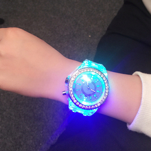 Cindiry Design Night Lights Silicone Watch Wrap Quartz Luminous Watch Fashion Lady Crystal Silicone Watch S0T11 P0.11(China)