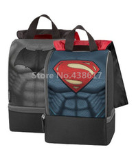 Batman V Superman Sided Insulated Lunch Kit Bag Black for Boys Lunch Box Dual Compartment Children School Food Thermal Bags