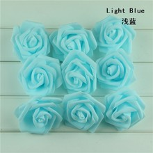 100pcs DIY Artificial Light Blue Bride Groom Favors Gifts Flower Married Party Handmade Rose Foam Wedding Decoration Supplies(China)
