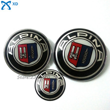 For ALPINA Logo 3Pcs 82mm 74mm 45mm Hood Front Sticker Rear Trunk Badge Car Steering Wheel Emblem For BMW E46 E60 E61 E66 X3 M4