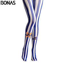 BONAS Blue Stripes Pantyhose Women Ocean Print Tights Female Collant High Elastic Cotton Pantyhose Lady New Tights(China)