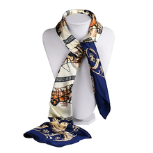 [SUMEIKE] Square Silk Satin Scarf For Women New Designer Ladies Scarves Female Shawl and Wrap Spain Horse Chain Neckerchief(China)
