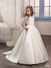 2017 Cheap Satin Flower Girl Dresses For Weddings Long Sleeve Pockets Jewel Crystal for Little Girls First Communion Dress FH66