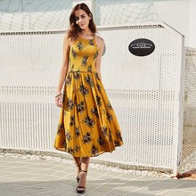 Buy Woman Casual Dress 2018 Summer Yellow Floral Print A-Line Sleeveless Pullover Sexy Backless Spaghetti Strap Elegant Women Dress for $24.95 in AliExpress store