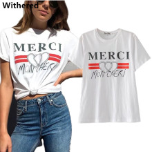 Withered 2017 t shirt women summer t-shirt european and american style letter Fashion printing cotton o-neck t-shirt women tops