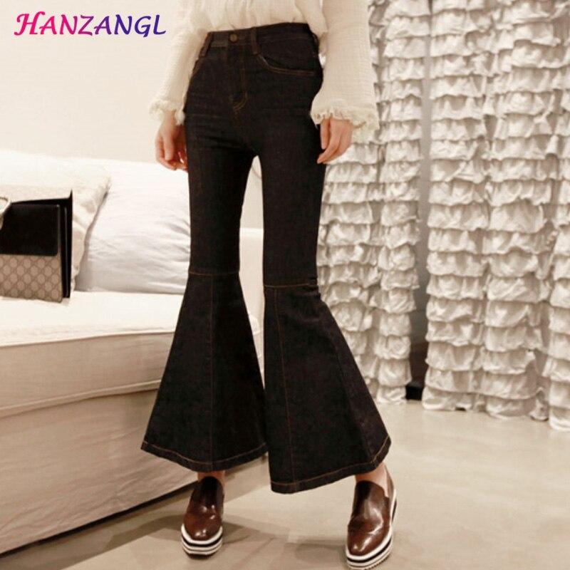 HANZANGL Women Elegant Vintage Flare Pants Black Wide Leg Jeans Ladys Fashion Full Length Big Straight Trousers Boot Cut JeansОдежда и ак�е��уары<br><br><br>Aliexpress