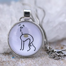 Love Greyhounds Necklace Jewelry Dog Lover Necklaces Round Unique Silver Cute Glass Pet Lovers Gift Idea 25*25mm G003(China)
