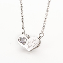 Fashon 316L Stainless Steel Pendants Heart Crystal Necklaces For Womens Love Accessories 2 Colors(China)