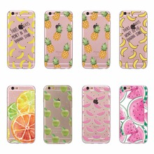 For iPhone 6 6s Phone Case TPU Silicon Soft Covers Pineapple Banana Watermelon Orange Fruits Transparent Cases For iPhone 6 6s