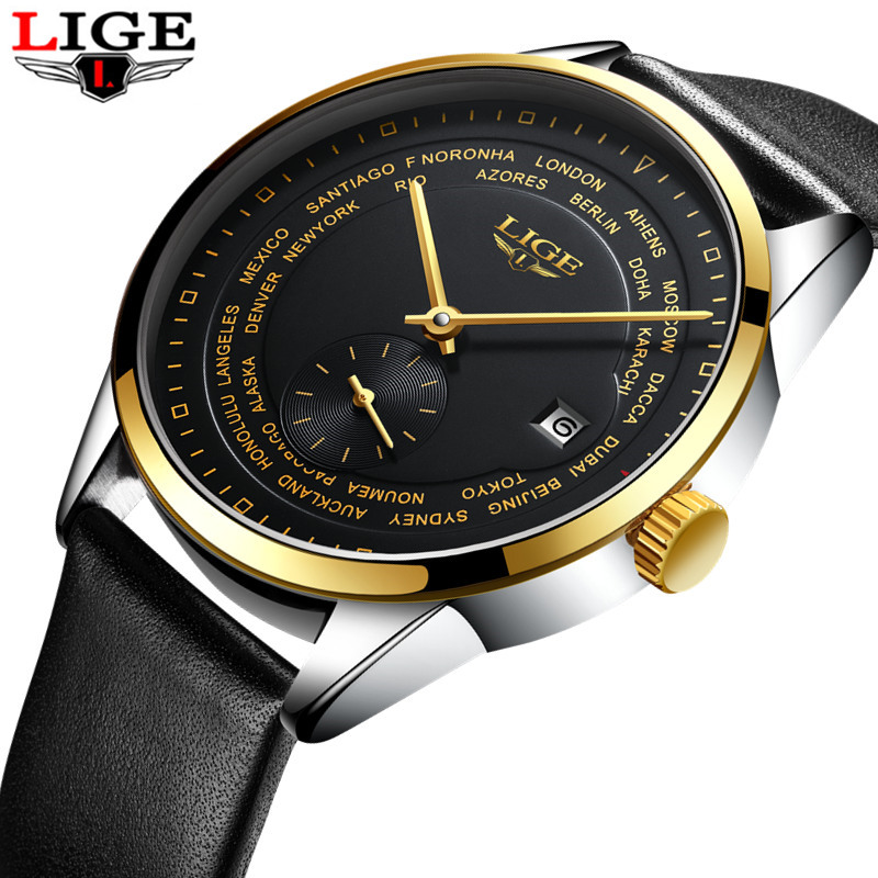 2017Fashion luxury brand LIGE automatic mechanical watch mens Watch Men Dive 50M Fashion Casual All steel Leather watch relogio<br>