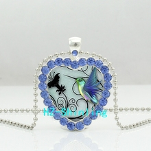 New Blue Hummingbird Heart Necklace Blue Hummingbird Crystal Pendant Jewelry Heart Shaped Necklace(China)