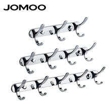 JOMOO Zinc Alloy Modern Bathroom Revolve Towel Coat Hooks Chrome 3/4/5 rows Robe Hook Wall Mounted Bathroom Accessories adhisive(China)