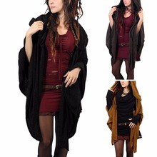Women Hooded Capes Shawls Coat Warm Autumn Spring Black Brown Fashion Loose Shawl Cashmere Jacket Coat