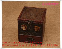 Vintage Jewelry Box Multilayer Drawer Dresser Organizer Wooden storage box Free Shipping