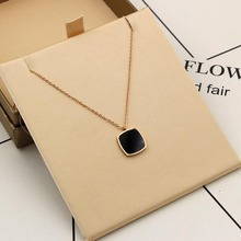 stainless steel big black square crystal pendant necklace fashion Chain Long Necklaces & Pendants Jewelry For Women(China)