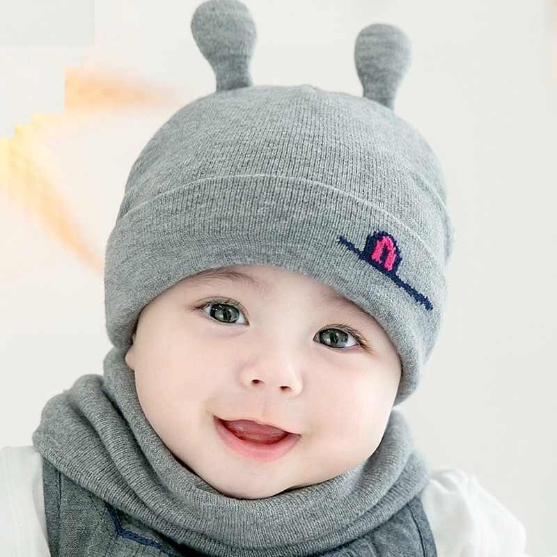 2Pcs Set Baby Knitted Hat Scarf Cat Infant Snood Children s Boy Girls  Winter Warm Crochet 828b147e0f20